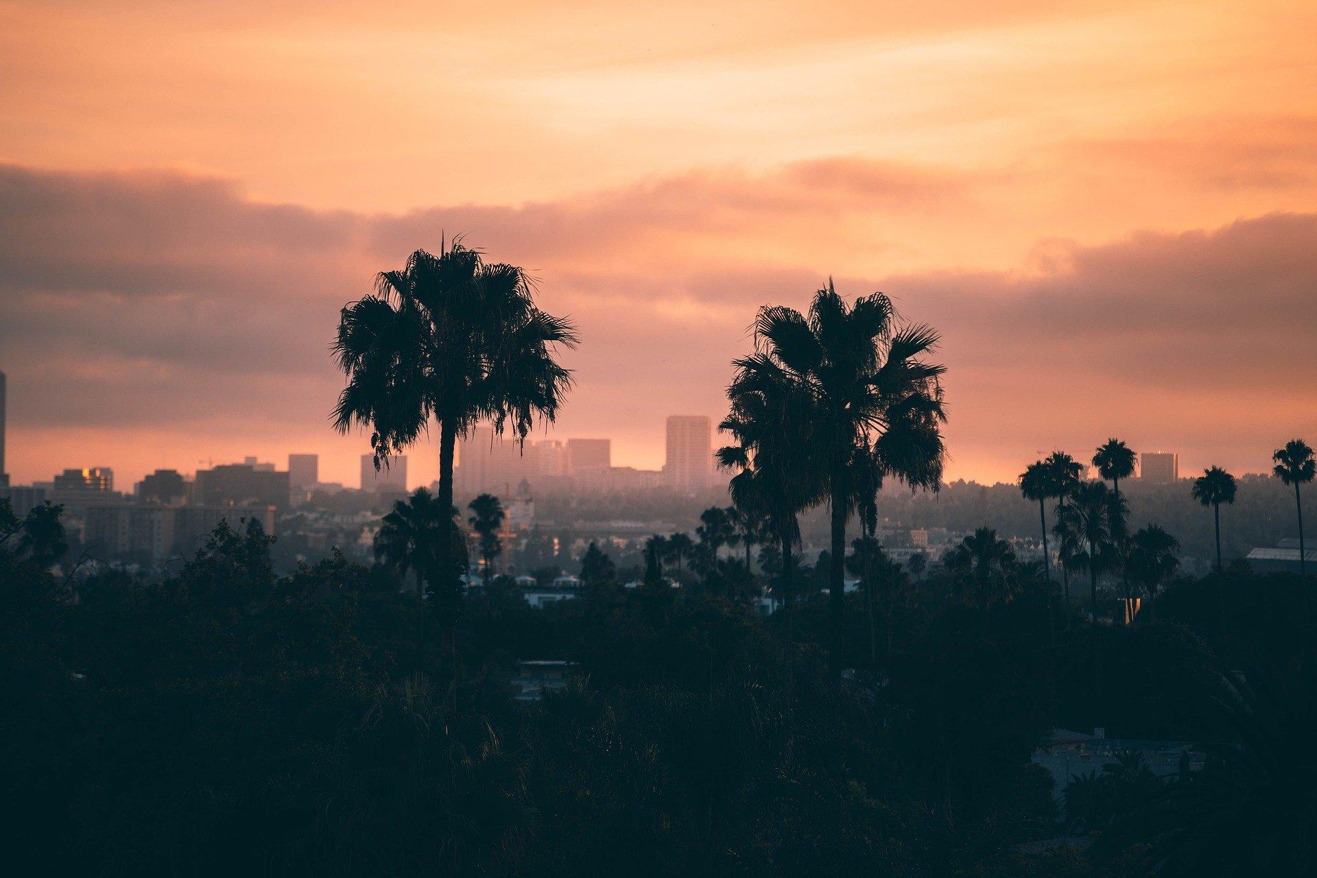 Coucher de soleil sur Los Angeles, cité des anges