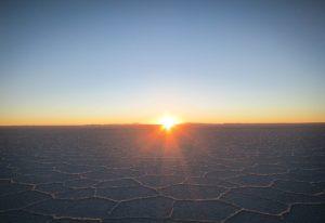 Coucher de soleil dur le Salar d'Uyuni