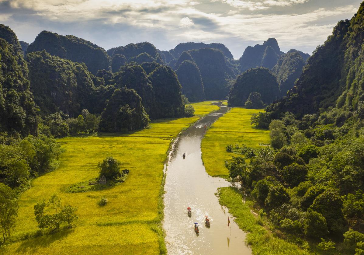 Balade en Sampan sur la rivière Trang An