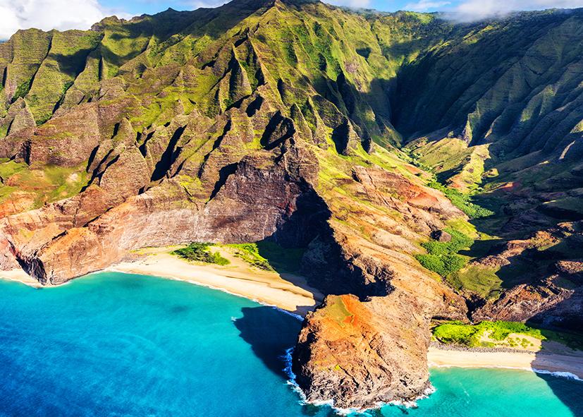 La côte de Na Pali sur l'ile de Kauai