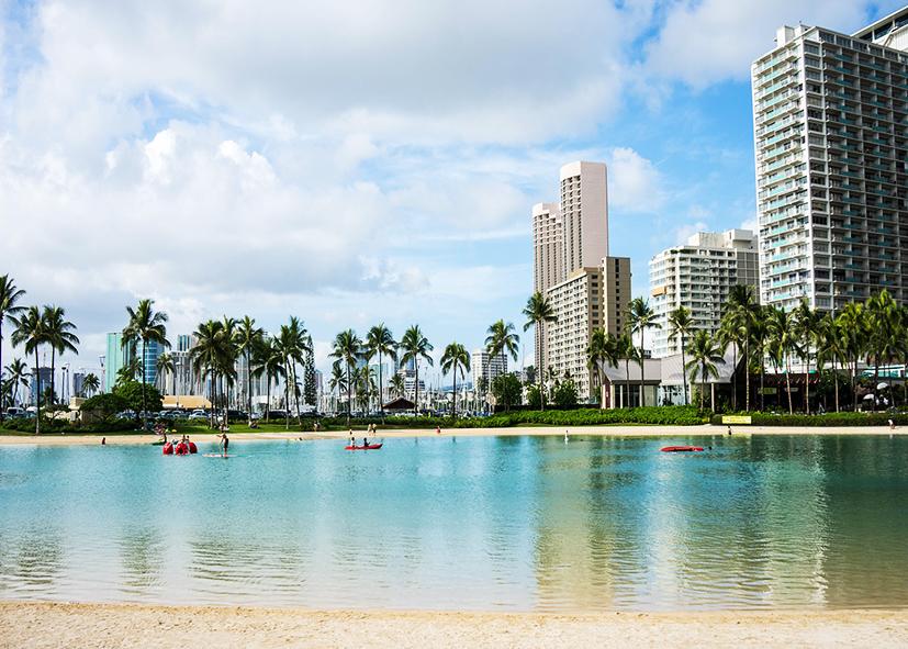 Plage de Waikiki à Honolulu