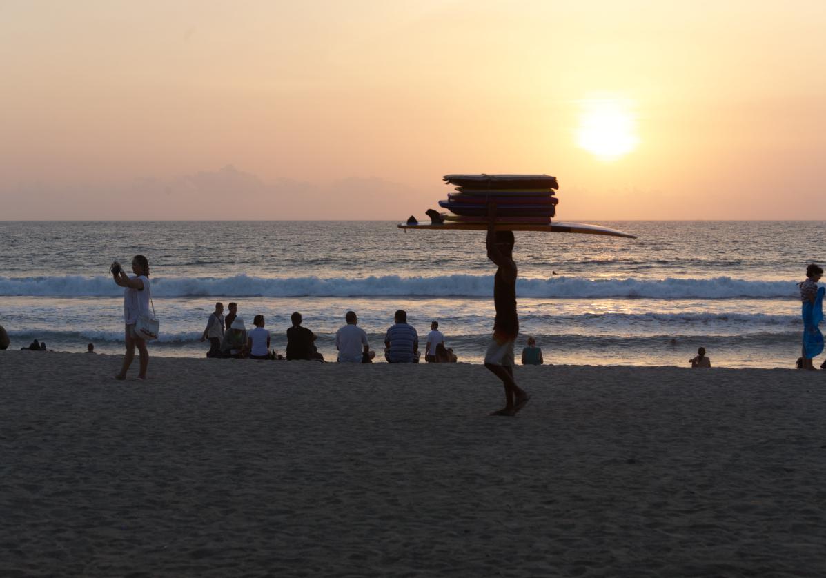 Coucher de soleil sur la plage de Sanur