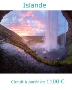Coucher de soleil sur les chutes de Seljalandsfoss, partir en Islande en juillet avec Nirvatravel