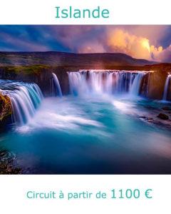 Coucher de soleil sur les chutes de Godafoss, partir en Islande au mois de juin avec Nirvatravel