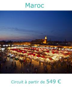 Marrakech, place Jemaa El Fna la nuit, partir au Japon au mois de mai avec Nirvatravel