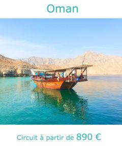 Boutre dans un fjord de Musandam, partir à Oman en février avec Nirvatravel