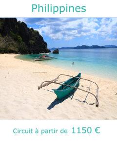 Banca sur la plage de l'ile de Coron, partir aux Philippines en janvier avec Nirvatravel